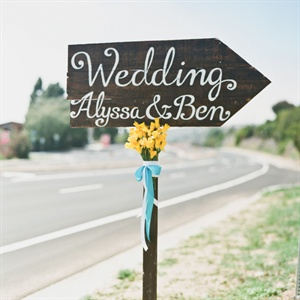 This sign pointed guests to the ceremony location.