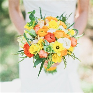 Alyssa's bright bouquet was just what she wanted. Orange and yellow daffodils, ranunculus and sweet peas completed the bunch.