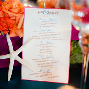 Simple, colorful menus were placed at each table.