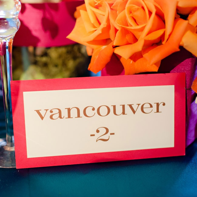 The tables were named after favorite places the couple had visited together.