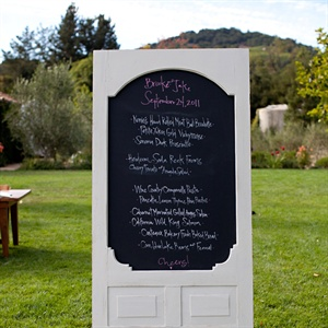 The menu board was an old door that Brooke's mom collected and painted with chalkboard paint.