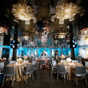 The couple chose Seven-Degrees for its already modern décor - a perfect match for their winter-wonderland wedding.