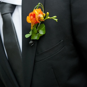 Orange Groom's Boutonniere