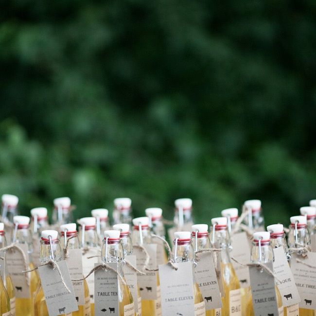 The bride and groom made the limoncello that was bottled and personalized for each guest with label that served as the escort cards.