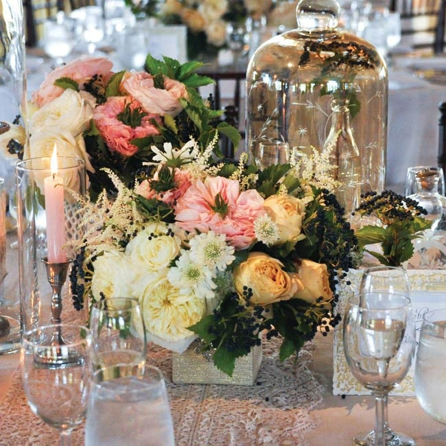 Bunches of seasonal blooms were displayed in vases and cloches.