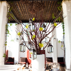 Lantern and Branch Reception Decor