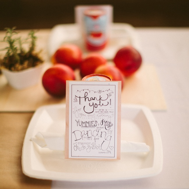 The escort cards doubled as thank you notes and were handwritten by the bride.