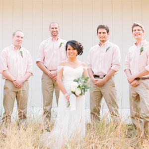 Dustin&#39;s five groomsmen sported rosemary boutonnieres pinned to their soft-peach shirts, which were paired with casual khaki bottoms.