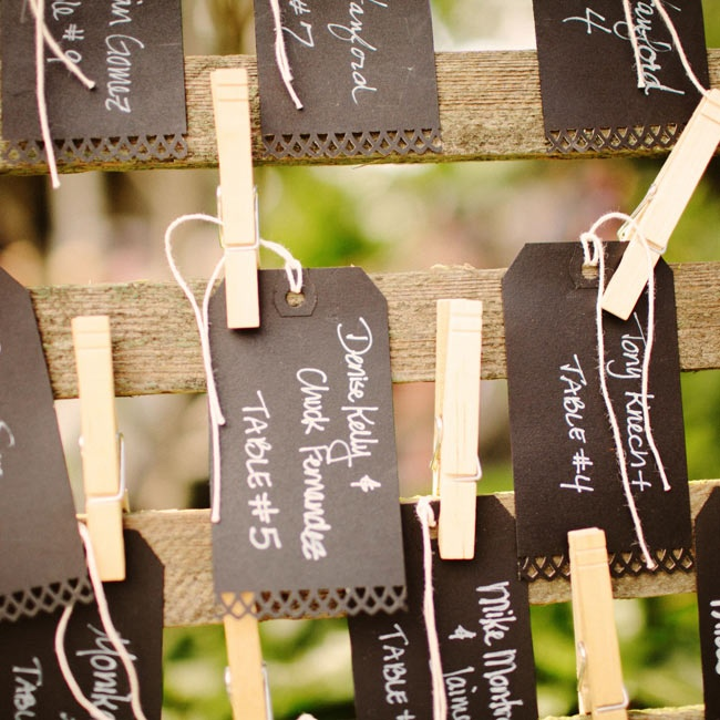 Black tags with a simple hole-punched design were clothespinned to an old wooden gate.