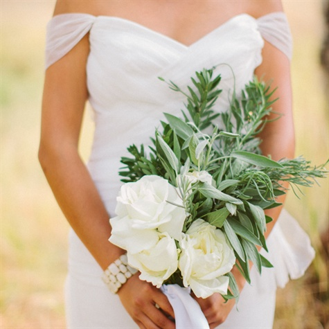 White Rose and Herb Bridal Bouquet
