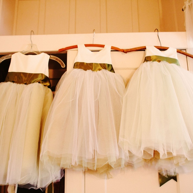 The three flower girls wore frothy tulle dresses that Lauren's mom made.