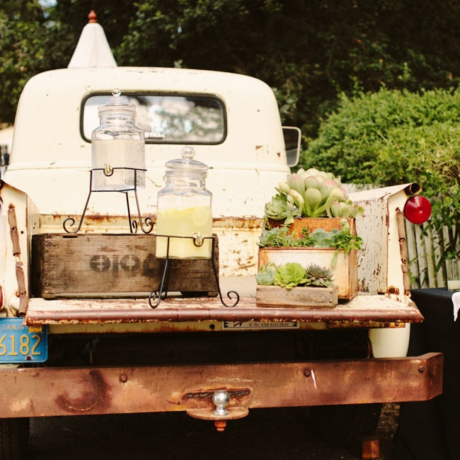Before the ceremony, guests sipped on refreshing sparkling lemonade - it was set up on the Beltane Ranch's 1953 Chevy.