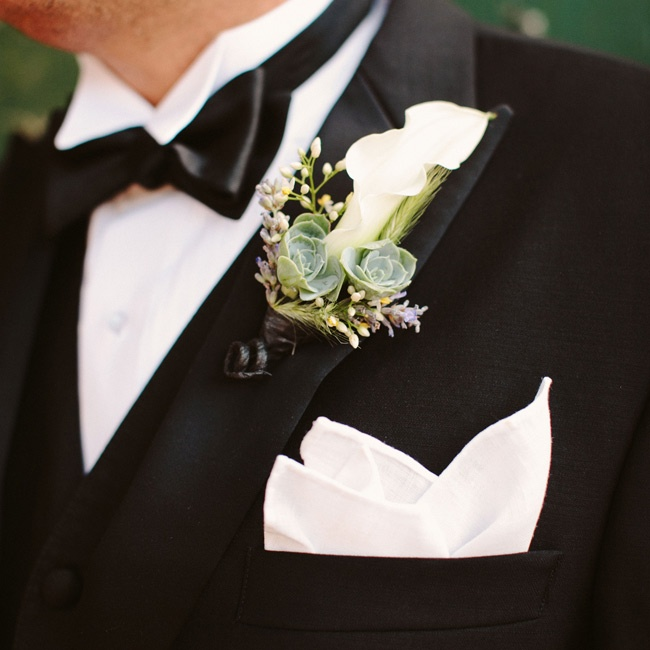The guys wore classic pocket squares and calla lily and succulent boutonnieres.