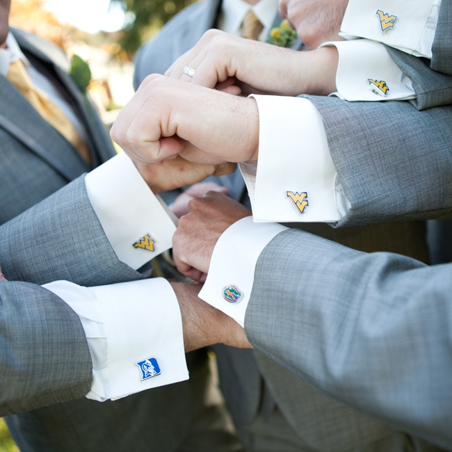 Megan and PJ gave their groomsmen cuff links of the University they each attended as a groomsmen gift.