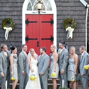 Megan picked out a Lynn Lugo one shoulder strap gray dress that all the bridesmaids wore. The groomsmen wore gray Calvin Klein suits with striped yellow ties.