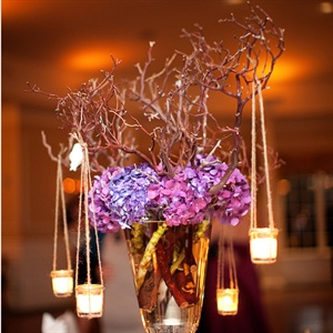 Tall Purple Reception Centerpieces