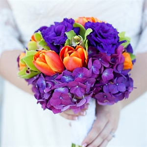Purple and Orange Bridal Bouquet
