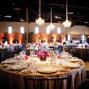 Neutral-colored linens topped tables so as not to take away from the vibrant centerpieces.