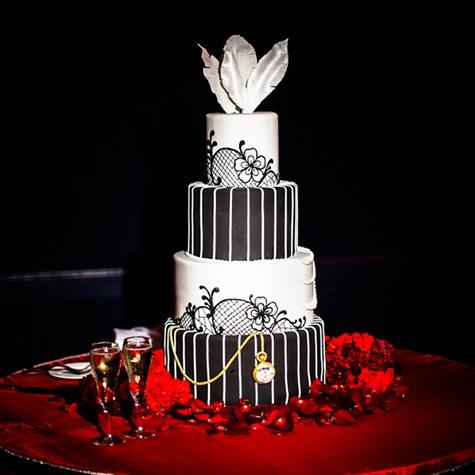 Vintage Black and White Cake