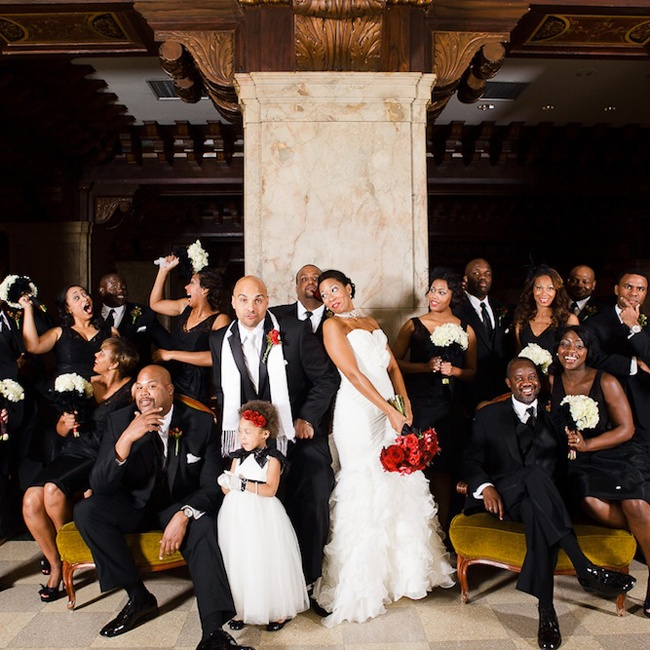 Erika and Donald had nine bridesmaids and nine groomsmen. The bridesmaids wore black Jim Hjelm gowns and the groomsmen wore black tuxedos with white pocket squares.
