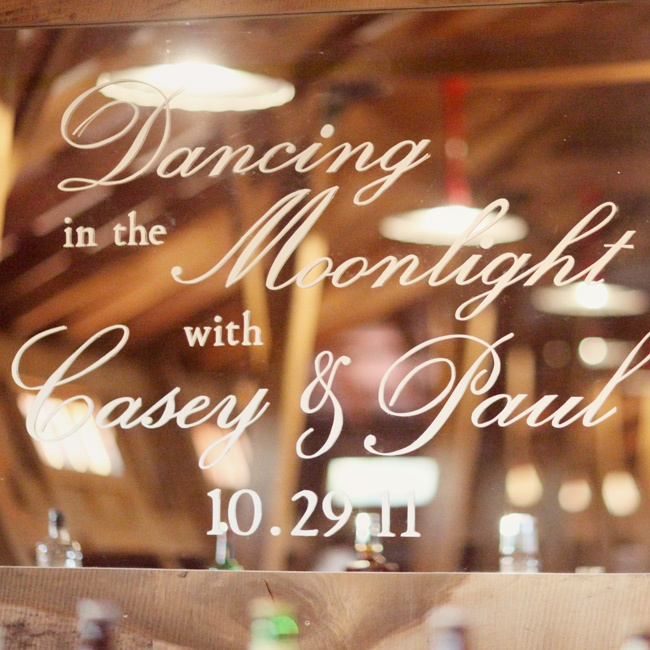 "The inscription read: ""Dancing in the moonlight with Casey and Paul"" and their wedding date."
