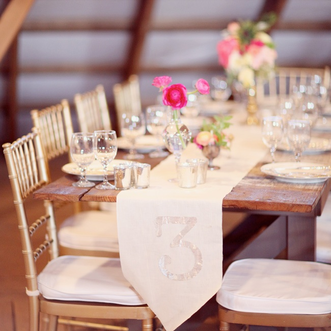 The brides father crafted the rustic chic farm tables.