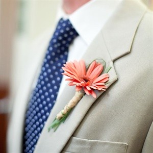 Coral Gerbera Daisy Boutonniere