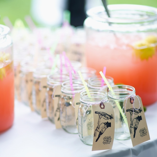 Raspberry lemonade was served during cocktail hour in take-home Mason jars.