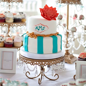 Coral and Turquoise Cake