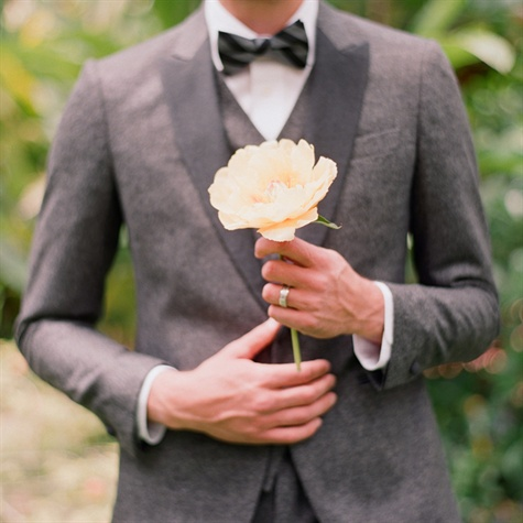 Gray Suit With Yellow Peony
