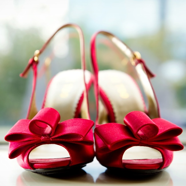 """Admittedly, Celia says, """"The shoes were picked long before I even had the dress."""" She wore red peep-toe heels."""