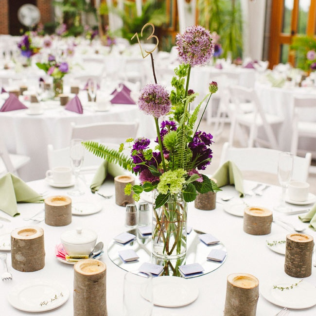 Alliums were the focal point of the centerpieces.