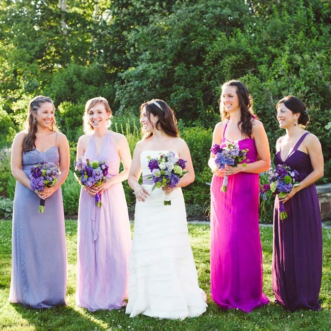 The girls wore dresses in different shades of purple.