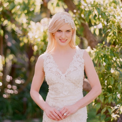 Flower and Lace Wedding Dress