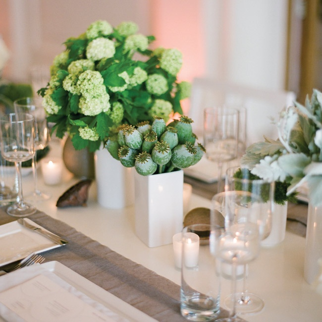 Each table featured various different floral designs - this one had mini green hydrangeas and seed pods in white vessels.