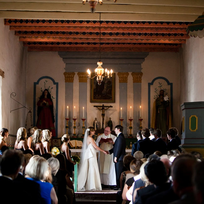 The couple exchanged vows in a historic Mexican mission.
