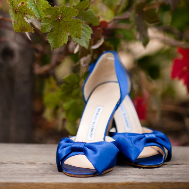 "For her ""something blue,"" Erin wore a pair of elegant peep-toe heels."