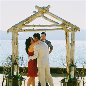 Diane and Wei renewed their vows on a private beach overlooking the lake.