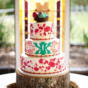 Red and Turquoise Wedding Cake