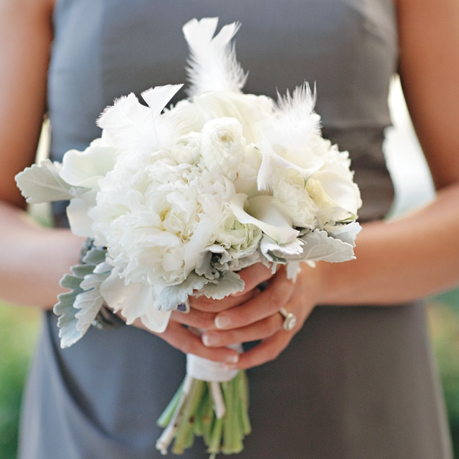 The bridesmaids carried smaller versions of Lauren's bouquet, with a few pretty extras like fluffy feathers and dusty miller.