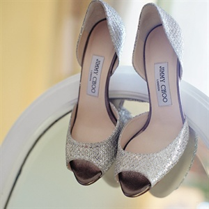 For a touch of bling, Lauren wore sparkly silver peep toes.