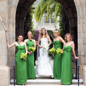 Each bridesmaid wore a different silhouette dress in the same grass-green hue.