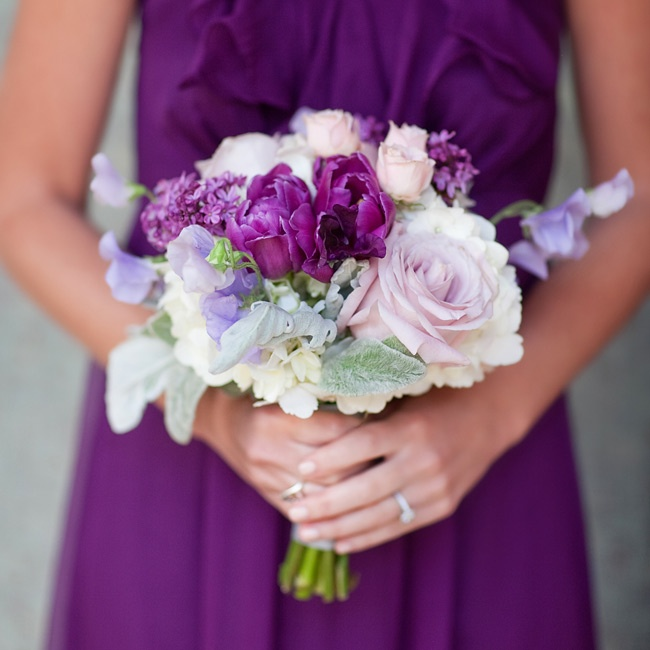 The girls carried purple parrot tulips, Amnesia roses and lavender sweet peas.