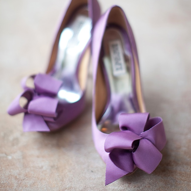Lindsay wore flirty purple heels with ruffles on the toes.
