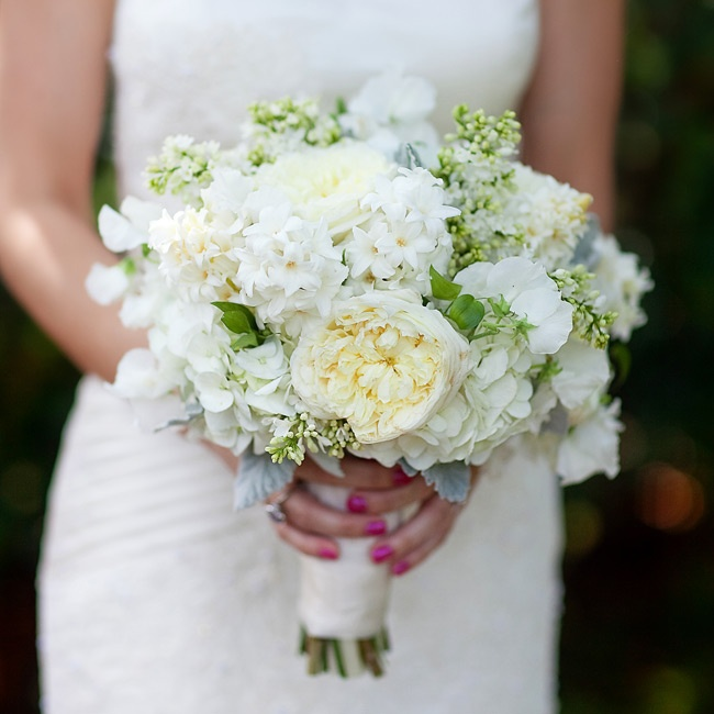 White hydrangeas, garden roses, hyacinths and lilacs rounded out Lindsay's fresh, hand-tied bouquet.