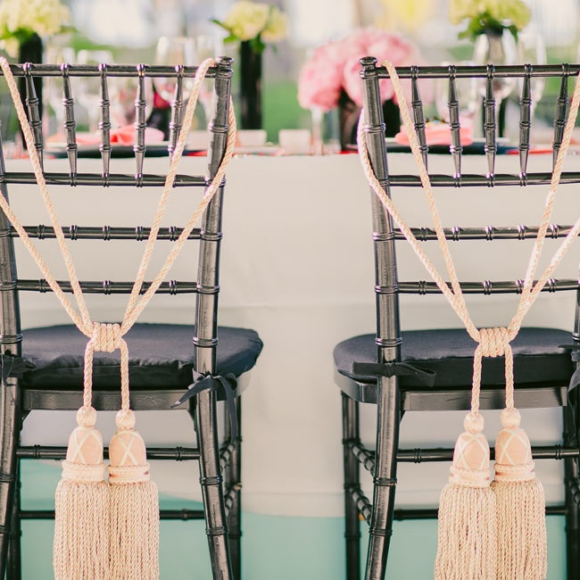 Oversize tassels hung from the newlyweds' seats.