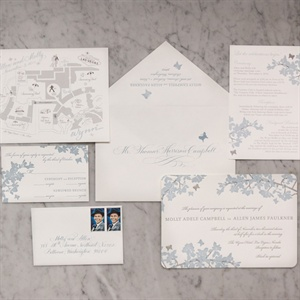 Gray Cherry Blossom Invitation Suite