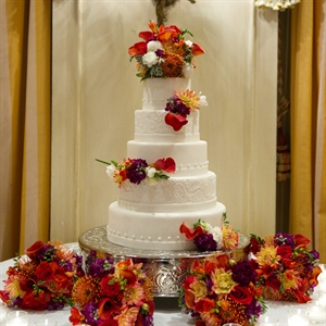 Traditional White Cake with Fresh Flowers