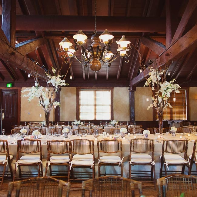 The rustic-elegant space was appropriately decorated with burlap and white linens and bamboo chairs.
