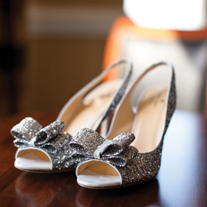 These glittery peep-toe sling backs added a touch of glam to Melissa's look.